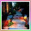 نورپردازی فضای سبز پله های سنگی